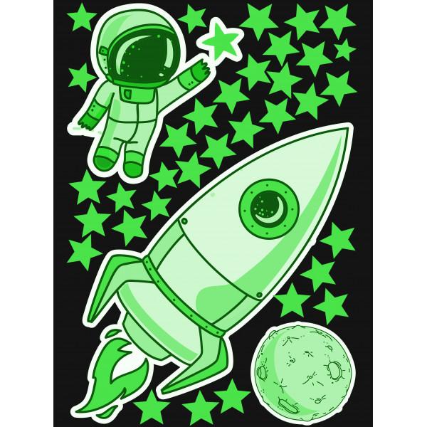 """Светящиеся наклейки """"Ракета, космонавт, луна и звезды"""""""