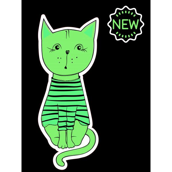 """Светящаяся кошка интерьерная """"Кошка в тельняшке"""""""