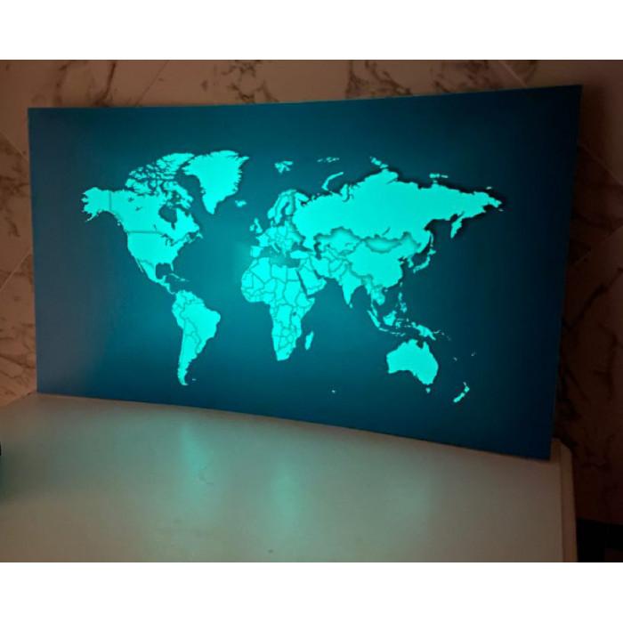 Светящаяся карта мира «Люми-Зуми» Черная формата А3