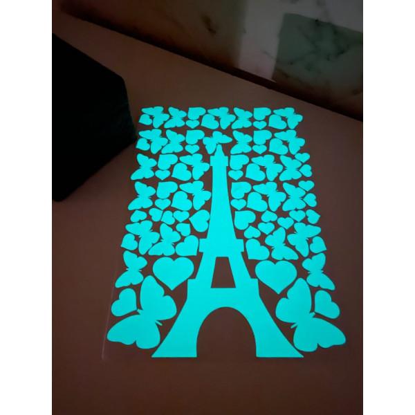 Светящаяся наклейка ночник Эйфелева башня «Люми–Зуми», А4