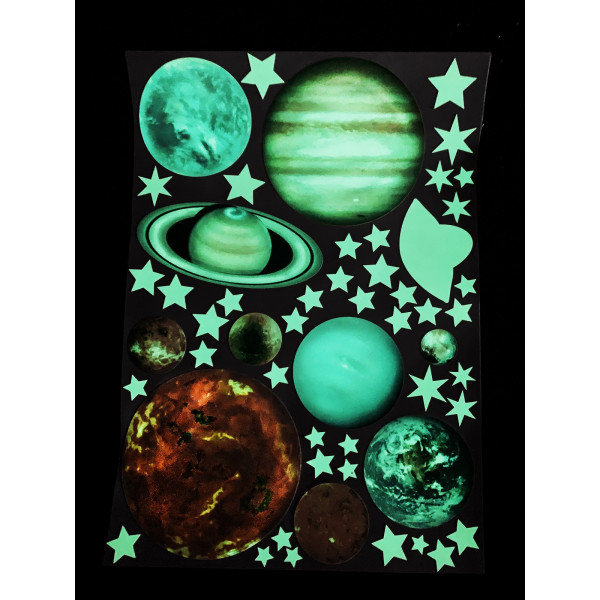 Светящаяся наклейка ночник Планеты «Люми–Зуми» формата А4