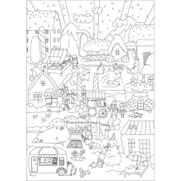 Напольная раскраска «Веселая зима»